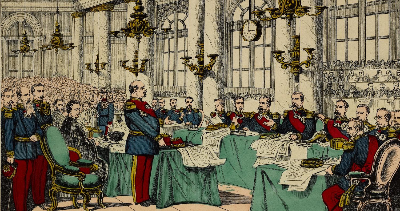 Comparution du maréchal Bazaine devant le Conseil de guerre de Metz suite à sa reddition lors de la guerre de 1870. Musée de Bretagne: 2013.0000.573.
