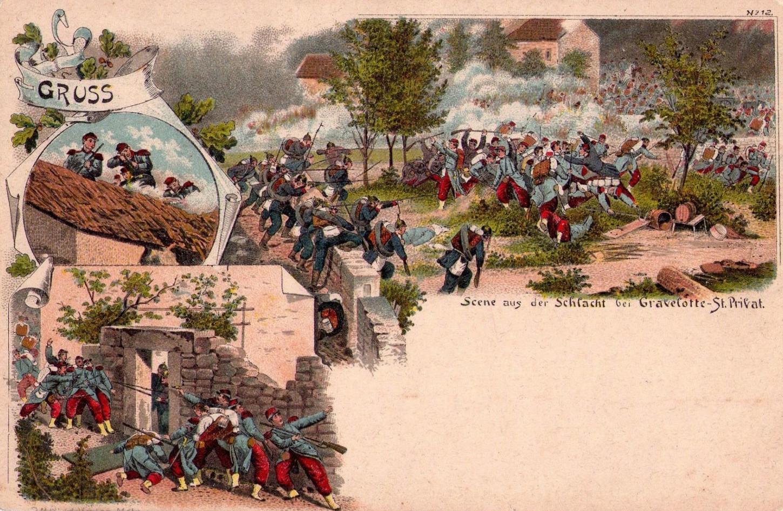 Carte postale allemande rappelant le souvenir de la bataille de Gravelotte. Collection particulière.