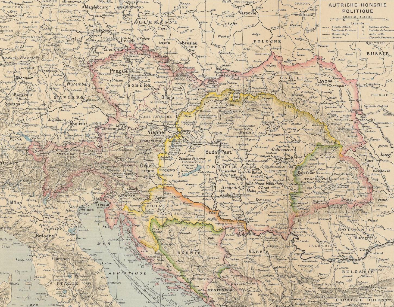 Carte de l'Autriche-Hongrie par Paul Vidal de la Blache (1891). Gallica / Bibliothèque nationale de France: Département Cartes et plans, GE D-9346.