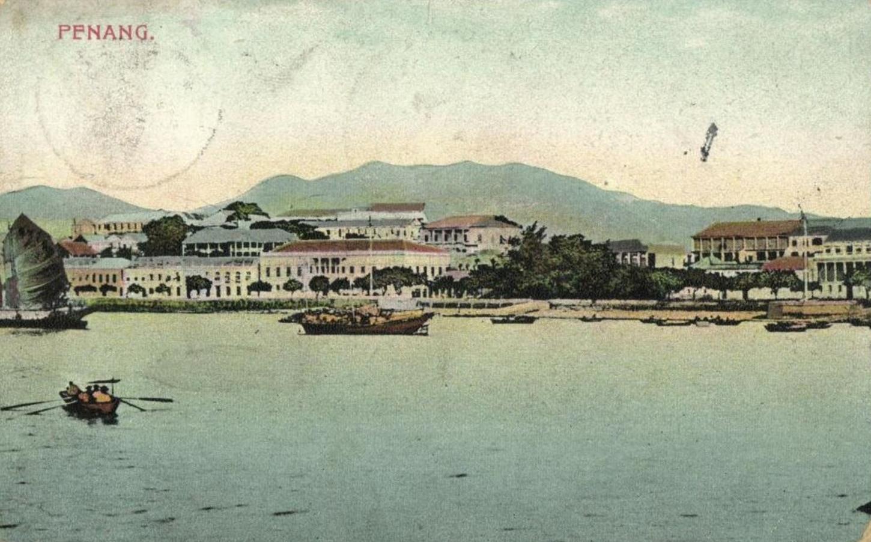 Penang, où sombre le contre-torpilleur Mousquet à la suite d'un combat contre le croiseur Allemand Emden. Carte postale. Collection particulière.