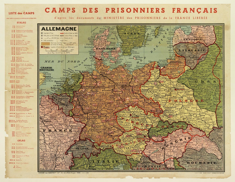 Carte des camps de prisonniers français détenus en Allemagne ou dans des territoires occupés par les armées du IIIe Reich et établie d'après les documents du Ministère des prisonniers de la France libérée. Musée de Bretagne: 988.0070.1.