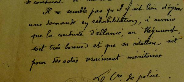 Arch. mun. Pontivy : 2 h 9, Rapport du commissaire de police de Pontivy, 2 mai 1917 (détail).