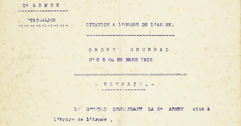 Citation à l'ordre de l'armée (détail). Musée de Bretagne: 982.0005.69.3.