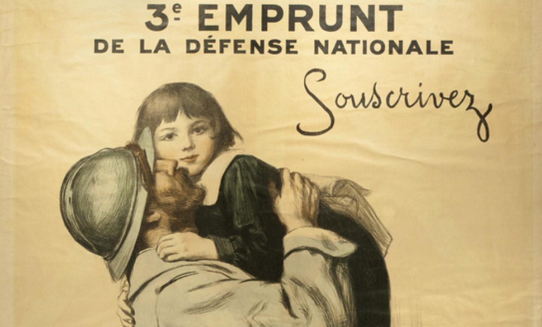 Affiche d'Auguste Leroux pour le 3e emprunt de la Défense nationale (détail). Musée national de l'Education: 1984.01345.