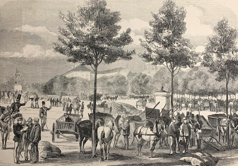 Matériel du train auxiliaire arrivant à Metz, 1870. Gravure d'après M. Lançon. Collection particulière.