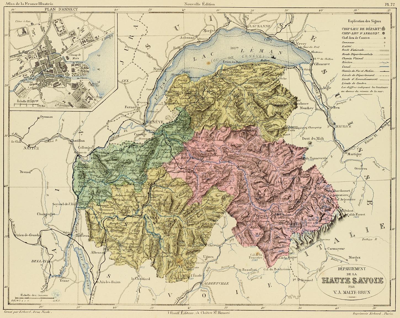 Carte du département de Haute-Savoie par Victor-Adolphe Malte-Brun (vers 1880). Musée de Bretagne: 987.0083.1.79.