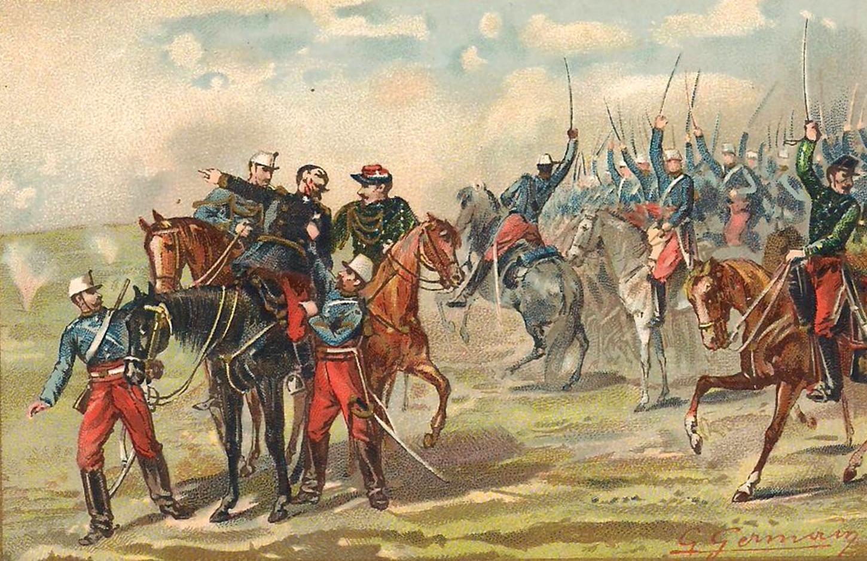 Lors de la bataille de Sedan, la défense de Bazeilles. Carte postale publicitaire. Collection particulière.
