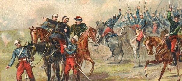 Combat de cavalerie lors de la bataille de Sedan, 1er septembre 1870. Carte postale publicitaire. Collection particulière.