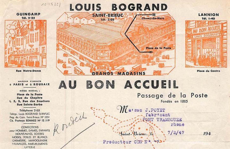 Facture des grands magasins Bogrand « Au Bon accueil », 1947 (détail). Collection particulière.