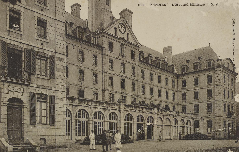 Rennes, l'hôpital militaire. Carte postale. Musée de Bretagne: 2017.0000.3391.