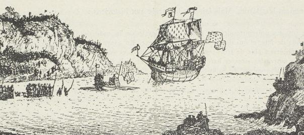 Débarquement de Jean IV à Dinanrd d'après Th. Busnel. Gravure utilisée par le Comité Jean IV pour exposer son projet. Musée de Bretagne: 956.0002.956.