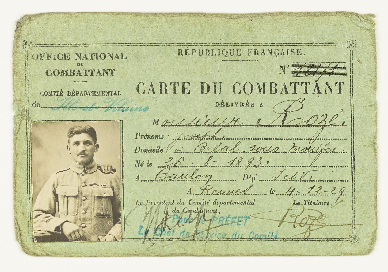 Carte du combattant. Musée de Bretagne: 982.0005.64.
