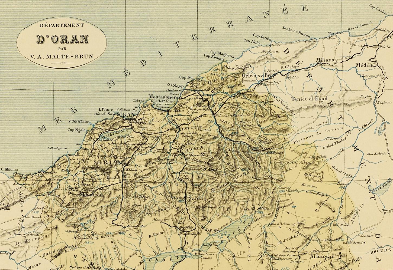 Carte du département d'Oran (Algérie) dans les années 1880 (détail). Musée de Bretagne: 987.0083.1.102.