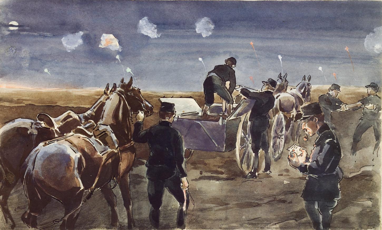 Scène de guerre. Aquarelle de l'imprimeur rennais et artilleur Charles Obertür. Musée de Bretagne: 991.0021.63.