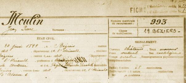 Fiche matricule de Jean Moulin (détail). Arch. dép. Hérault : 1 R 1328.993.