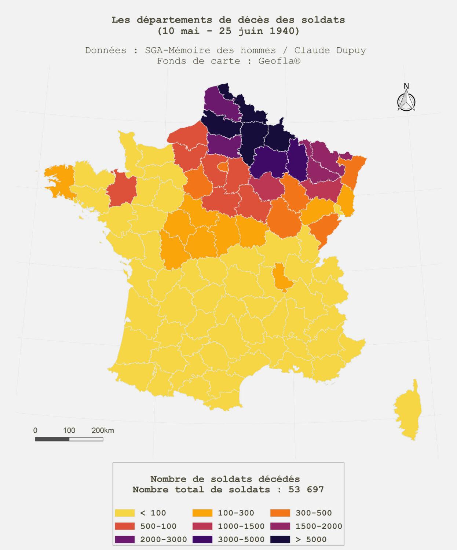 Les départements de décès des soldats (10 mai - 25 juin 1940). Données: SGA-Mémoire des hommes / Claude Dupuy. Carte: Paul Maneuvrier-Hervieu.