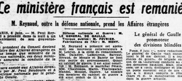 Une de l'édition du 7 juin 1940 de L'Ouest-Eclair (détail). Gallica / Bibliothèque nationale de France.