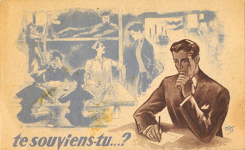 Carte postale publiée en 1948 par la Fédération nationale des déportés du travail. Les femmes sont clairement absentes du discours de cette association. Collection particulière.