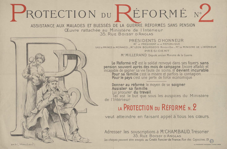 Affiche en faveur de la protection du réformé n°2, sans date. Albert Mourocq est lui réformé n°1, c'est-à-dire avec pension. La Contemporaine: AFF17416 (6).