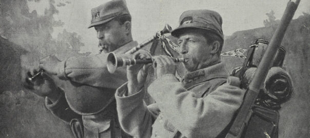 Couple de sonneurs du 73e RIT en couverture de L'Illustration du 3 juillet 1915 (détail). Musée de Bretagne: 983.0044.1.