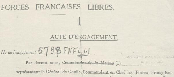 Acte d'engagement dans les Forces françaises libres (détail). Archives SD ONAC 22: dossier Yves Eouzan.