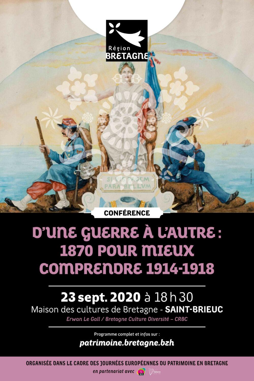 Affiche de la conférence que je donnerai le 23 septembre 2020, à 18h30, en la Maison des cultures de Bretagne à Saint-Brieuc.
