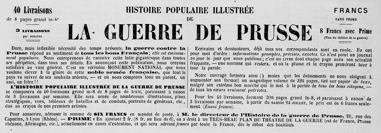 Arch. dép. CdA: « Histoire populaire illustrée de la guerre de Prusse », La Presse bretonne, 27e année, n°32, 11 août 1870, p. 3.