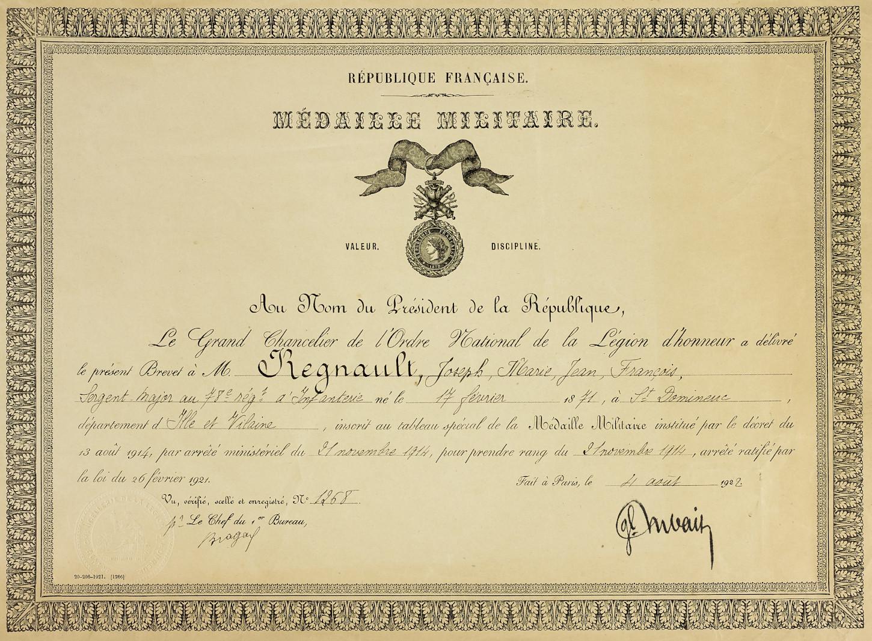 Diplôme de Médaillé militaire, 4 août 1902. Musée de Bretagne: 982.0005.101.1.