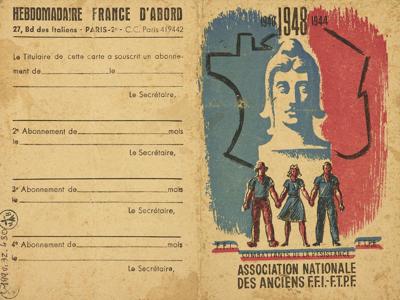 Carte de membre de l'Association nationale des anciens FFI-FTPF, 1948. Musée de Bretagne: 990.0032.480.
