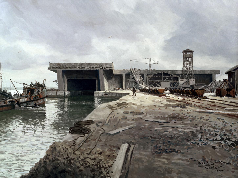 Construction de la base sous-marine de Lorient, peinture d'Adolf Bock, 1941. National Archives at College Park: DASC8400793.