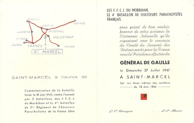 Carton d'invitation à la cérémonie du 27 juillet 1947 à Saint-Marcel. Collection particulière.