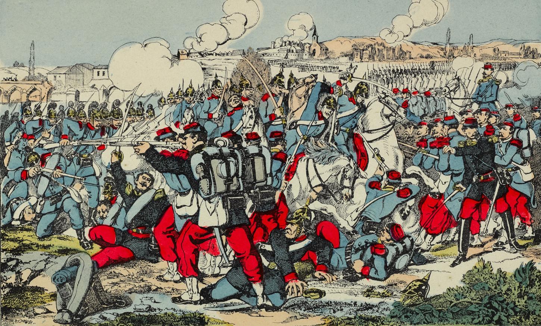 Représentation de la bataille de Gravelotte, image d'Epinal. Musée de Bretagne: 2018.0000.2869.