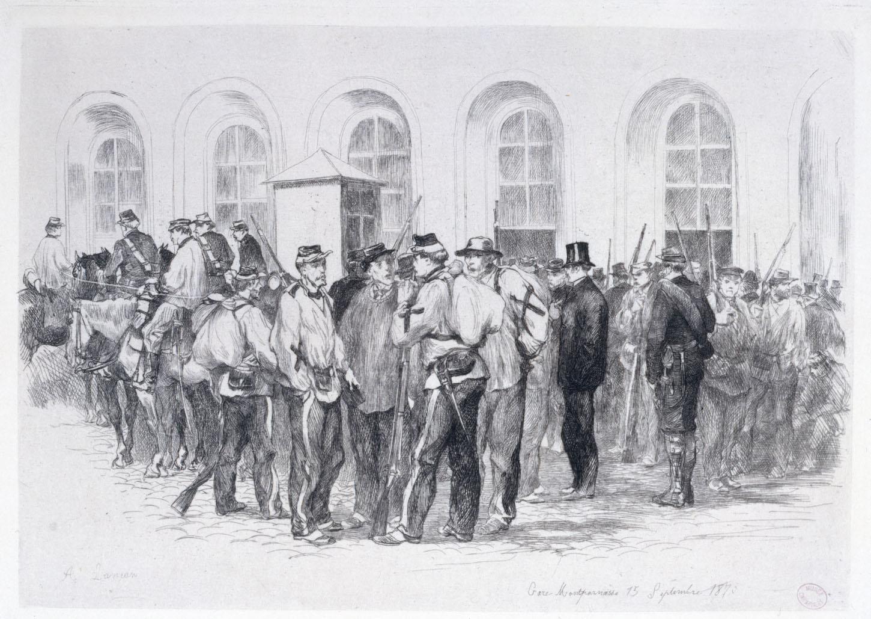 Gare Montparnasse 15 septembre 1870. Gravure d'Auguste Lançon. Musée Carnavalet, Histoire de Paris: G.16475.