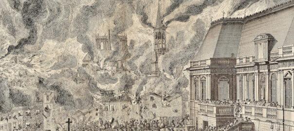 Estampe de Jean-François Huguet représentant le grand incendie qui ravage Rennes en 1720 (détail). Musée de Bretagne: 2016.0000.3389