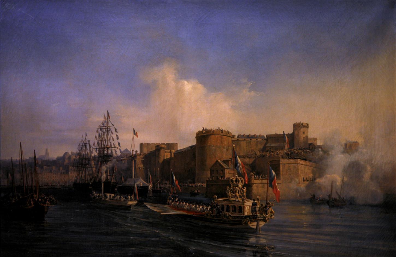 Visite de Napoléon III à Brest, le 11 août 1858. Huile d'Auguste Mayer (1805-1890). Musée national de la Marine / Wikicommons.