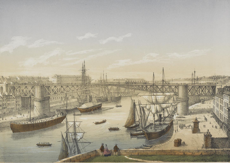 Brest, le nouveau pont impérial allant à Recouvrance. Musée de Bretagne: 2016.0000.7831.