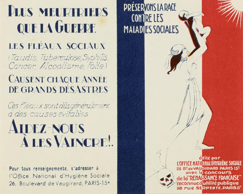 Calendrier pour l'année 1932 publié par l'Office national d'hygiène sociale. L'idée de contagion est centrale dans ce document et associe la guerre à un agent pathogène. Musée de Bretagne : 2003.0002.5.