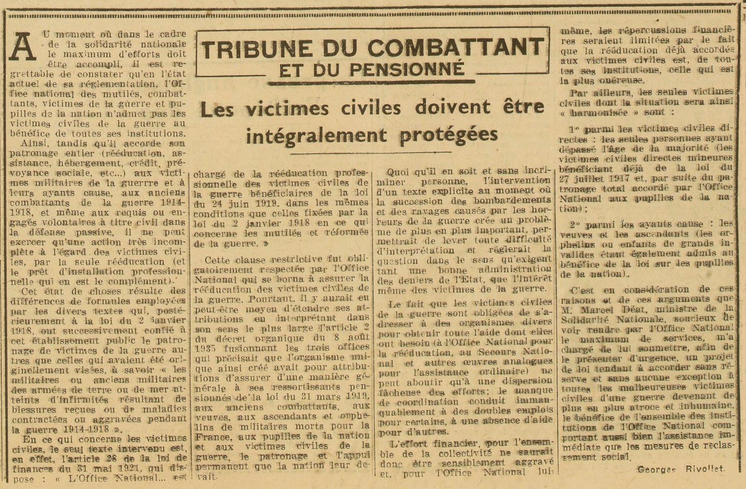 Tribune publiée dans « L'Œuvre » par Georges Rivollet le 31 juillet 1944. Gallica / Bibliothèque nationale de France.