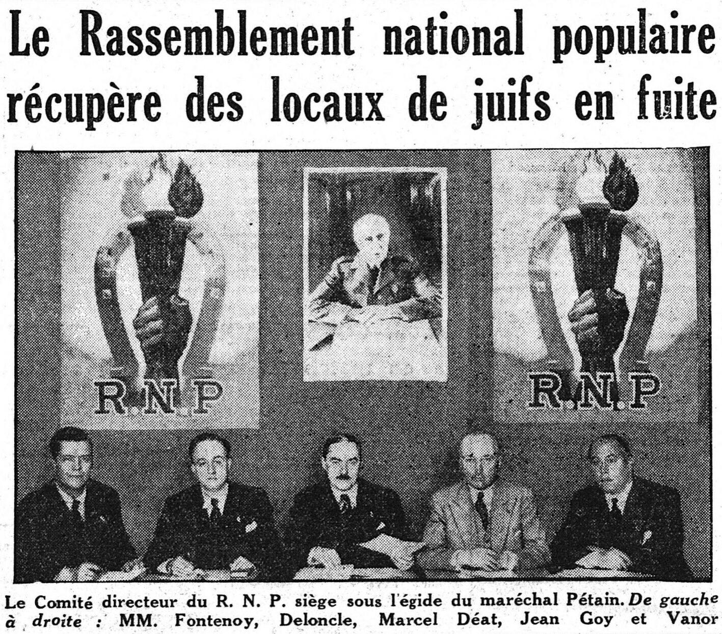 """L'état-major du RNP en """"une"""" du Matin du 10 janvier 1941. Wikicommons."""