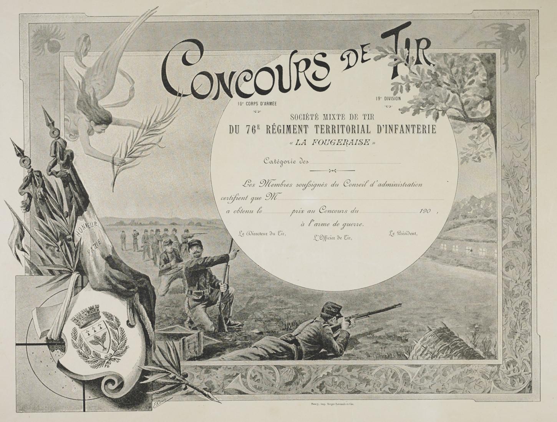 Diplôme de concours de tir du 76e RIT. Musée de Bretagne: 2017.0000.3792.