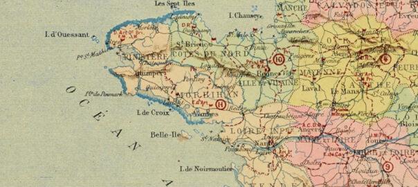 La Bretagne des 10 et 11e régions militaires. Extrait d'une carte publiée dans les années 1880. Musée de Bretagne: 987.0083.1.7.