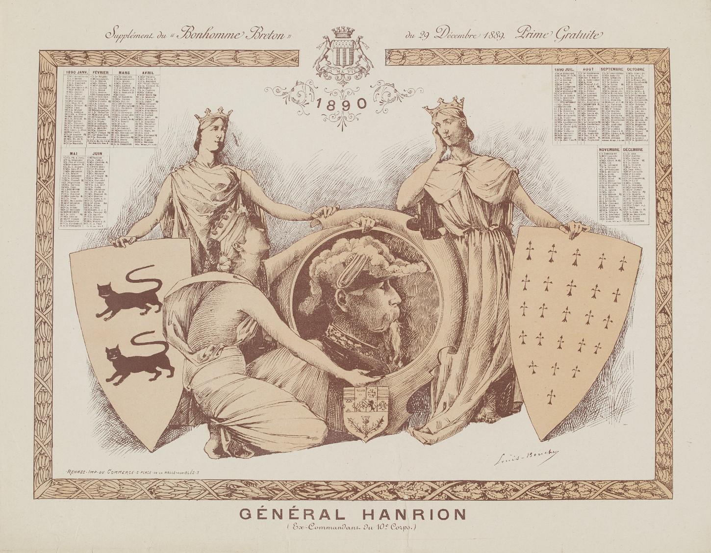 Calendrier pour l'année 1890 diffusé en supplément du 'Bonhomme breton' et figurant le général Bertrand Hanrion, ex-commandant du 10e corps d'armée. Musée de Bretagne: 889.0037.1.