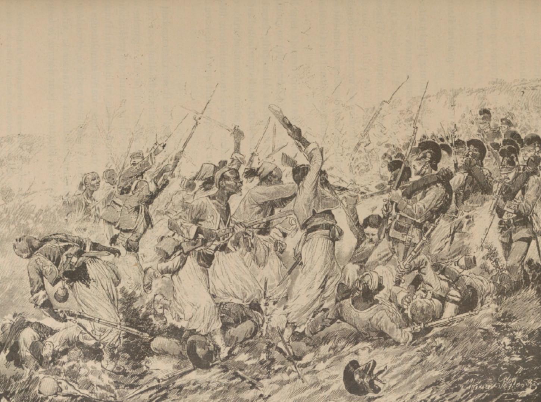 « Le 1er tirailleurs au combat de Wissembourg ». Illustration figurant dans ROUSSET, commandant Léonce, Histoire populaire de la guerre de 1870-1871, Paris, La Librairie illustrée, sans date, p. 145.