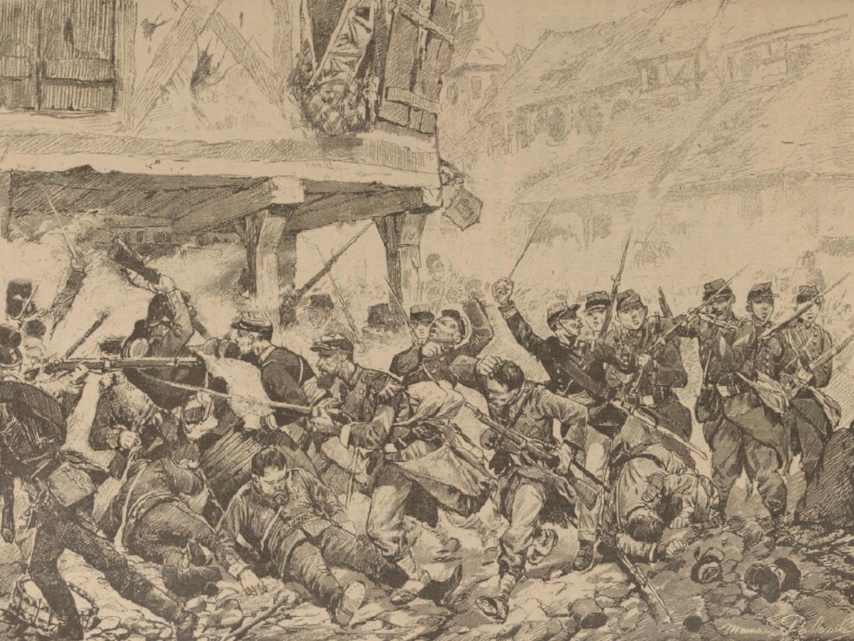Défense de Wissembourg. Illustration figurant dans ROUSSET, commandant Léonce, Histoire populaire de la guerre de 1870-1871, Paris, La Librairie illustrée, sans date, p. 153.