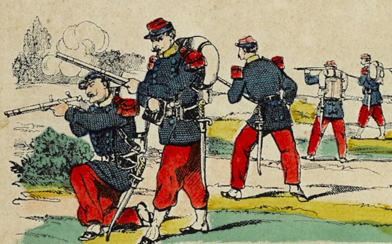 Dragons à la manœuvre au camp de Satory, image d'Epinal vers 1870 (détail). Musée de Bretagne: 2013.0000.118.