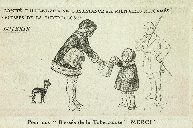 Billet de loterie en faveur du Comité d'Ille-et-Vilaine d'assistance aux militaires réformés blessés de la tuberculose, 1918. Musée de Bretagne : 2017.0000.5629.