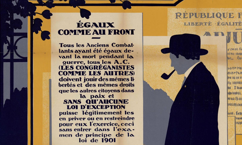 Affiche de la ligie des droits du religieux ancien combattant, fin des années 1920 (détail). La Contemporaine: AFF20707.