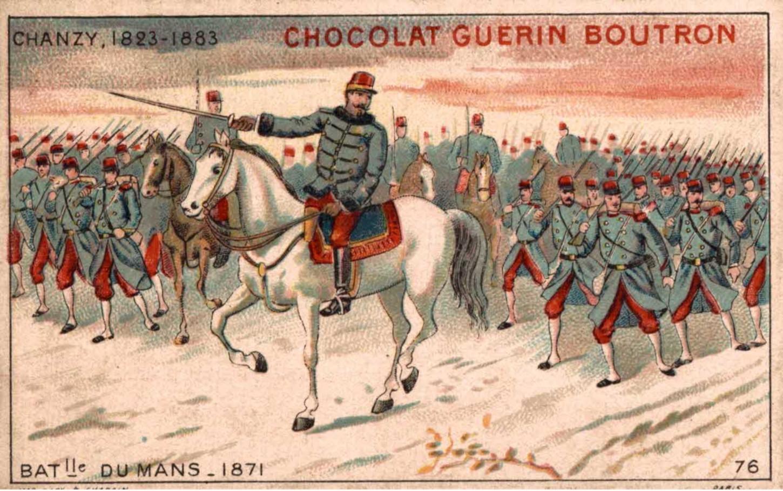 """Image publicitaire figurant dans les chocolats Guérin-Boutron. Image faisant partie d'une série de 84 illustrant les """"Grands Capitaines"""". Collection particulière."""