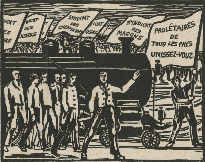 """Estampe de Charles-Alexandre Mairet pour """"La Nouvelle internationale"""", 1919. Musée d'art et d'histoire de la ville de Genève: E 93-0598."""