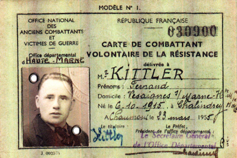 Carte de combattant volontaire de la Résistance. AERI / archives privées Lysiane Kittler.